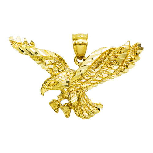 14K Yellow Gold Eagle Charm Pendant