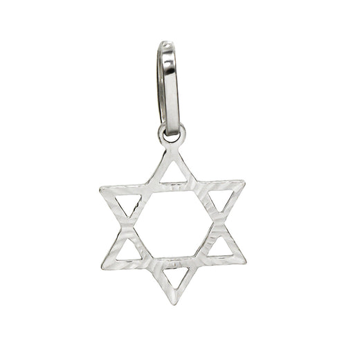 14K White Gold Jewish Star of David Charm Pendant