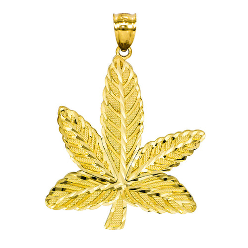 14K Yellow Gold Cannabis Marijuana Leaf Charm Pendant