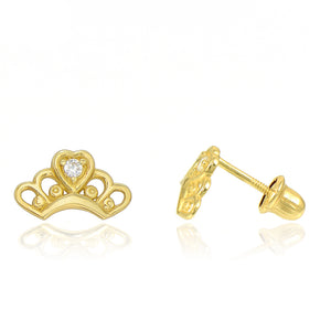 14K Yellow Gold Princess Tiara Cubic Zirconia (CZ) Screw Back Stud Earrings