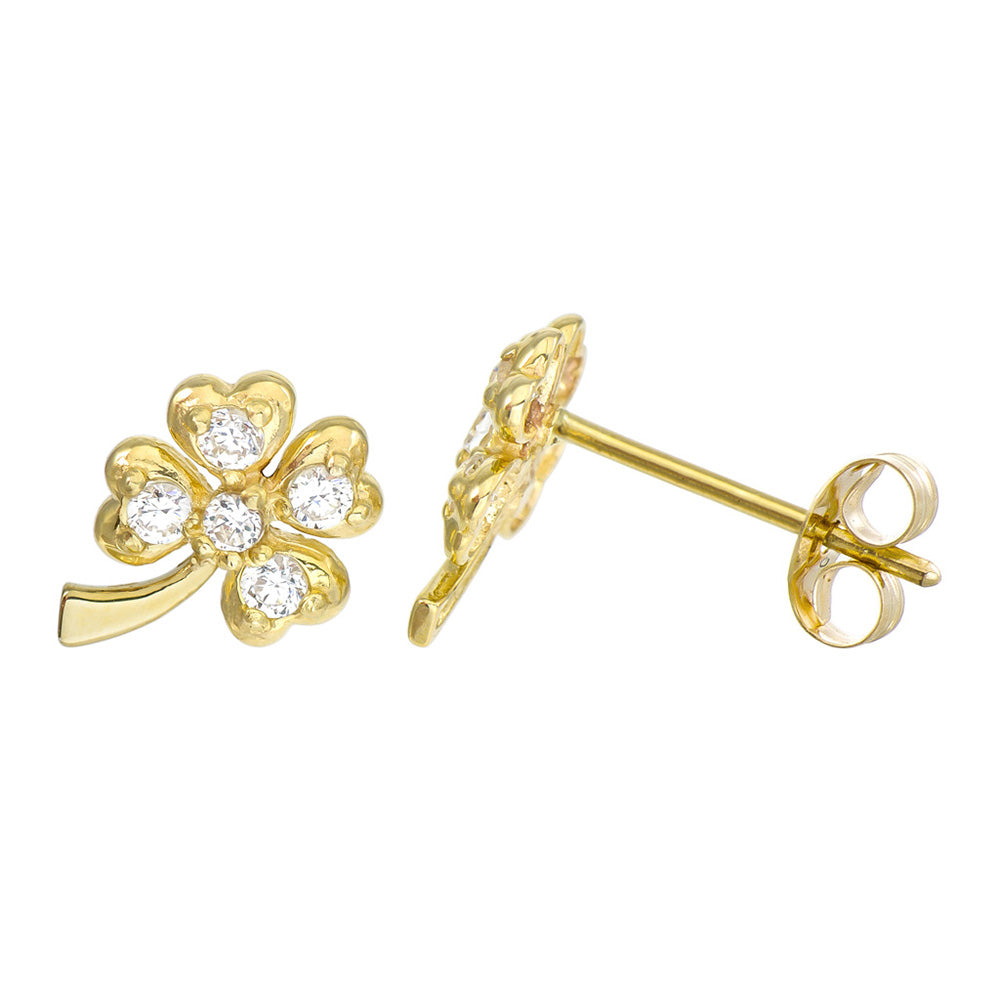 14K Yellow Gold Round Cubic Zirconia 3-Prong Set Four-Leaf Clover Stud Earrings
