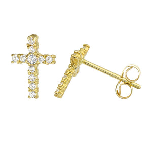 14K Yellow Gold Round Cubic Zirconia Shared-Prong Set Cross Stud Earrings
