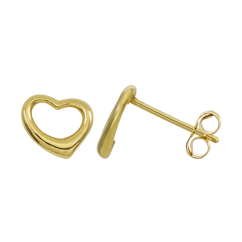 14K Yellow Gold Cute Heart Stud Earrings