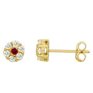 14K Yellow Gold 0.28 Cttw Round Cut Deep Red Cubic Zirconia Stud Earrings