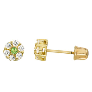 14K Yellow Gold 0.28 Cttw Round Cut Pale Green Cubic Zirconia Stud Earrings