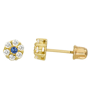 14K Yellow Gold 0.28 Cttw Round Cut Deep Blue Cubic Zirconia Stud Earrings