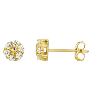 14K Yellow Gold 0.21 Cttw Round Cut Yellow Cubic Zirconia Flower Stud Earrings