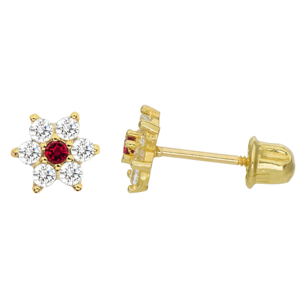 14K Yellow Gold 0.21 Cttw Round Cut Deep Red Cubic Zirconia Flower Stud Earrings