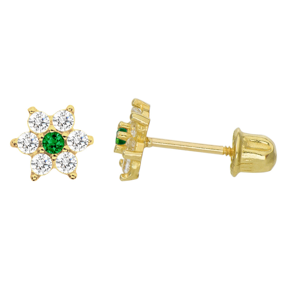 14K Yellow Gold 0.21 Cttw Round Cut Green Cubic Zirconia Flower Stud Earrings