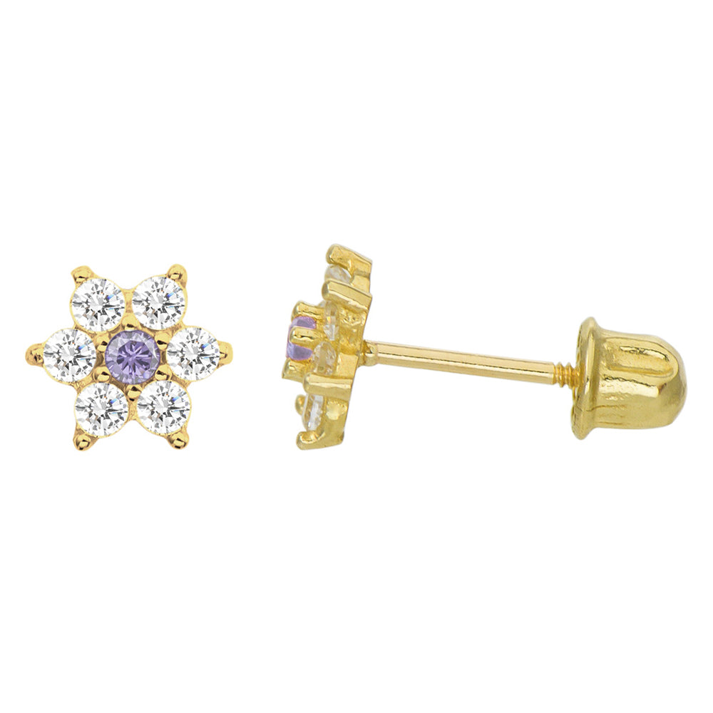 14K Yellow Gold 0.21 Cttw Round Cut Pale Purple Cubic Zirconia Flower Stud Earrings