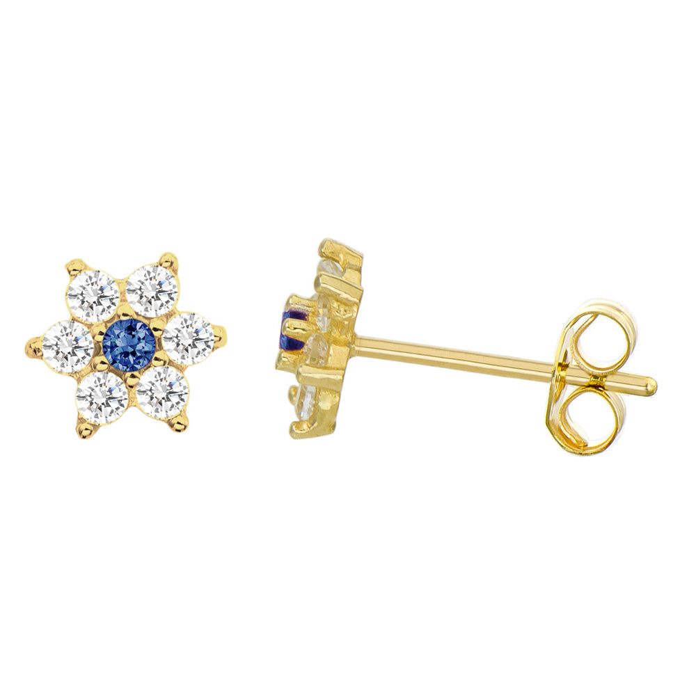 14K Yellow Gold 0.21 Cttw Round Cut Deep Blue Cubic Zirconia Flower Stud Earrings