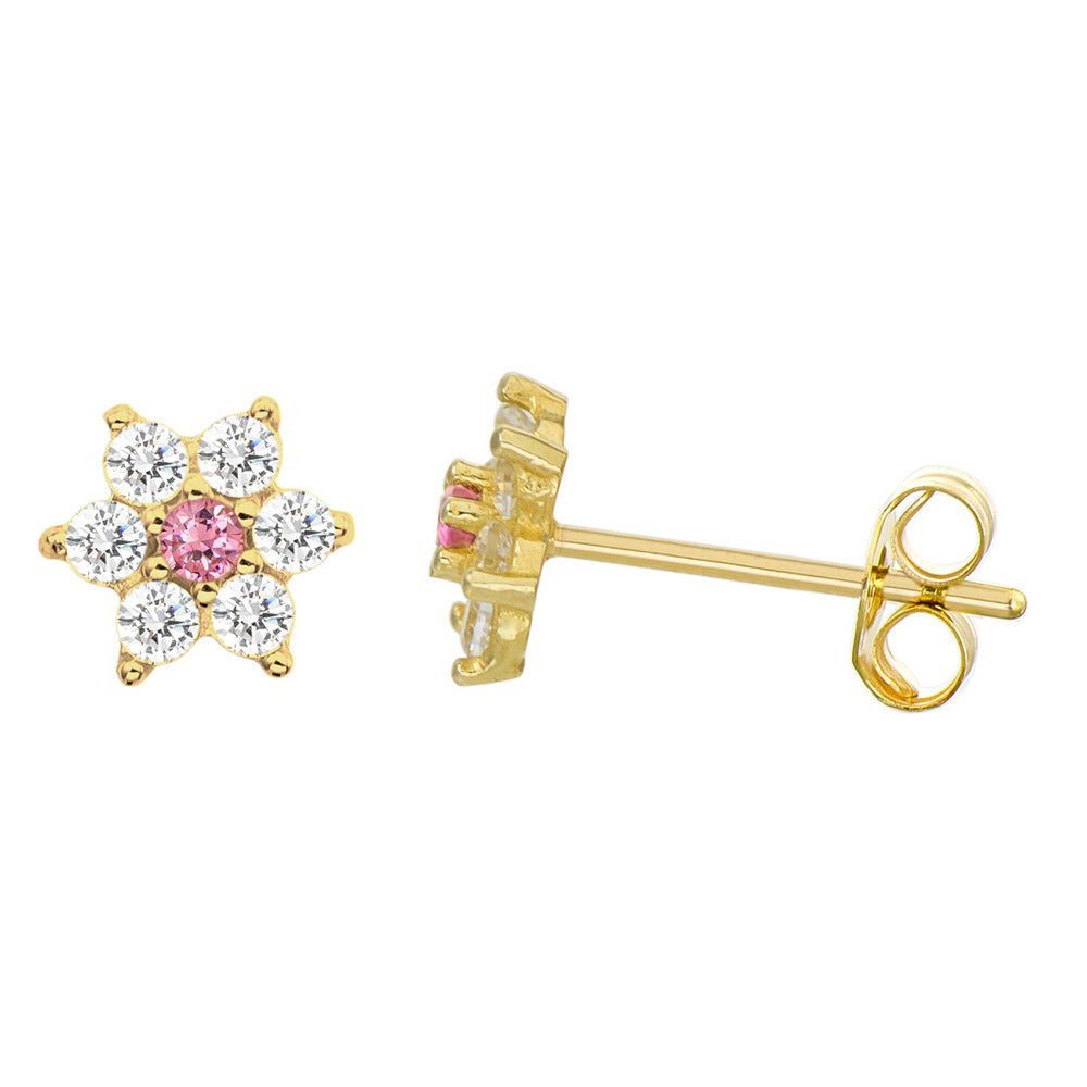 14K Yellow Gold 0.21 Cttw Round Cut Pink Cubic Zirconia Flower Stud Earrings