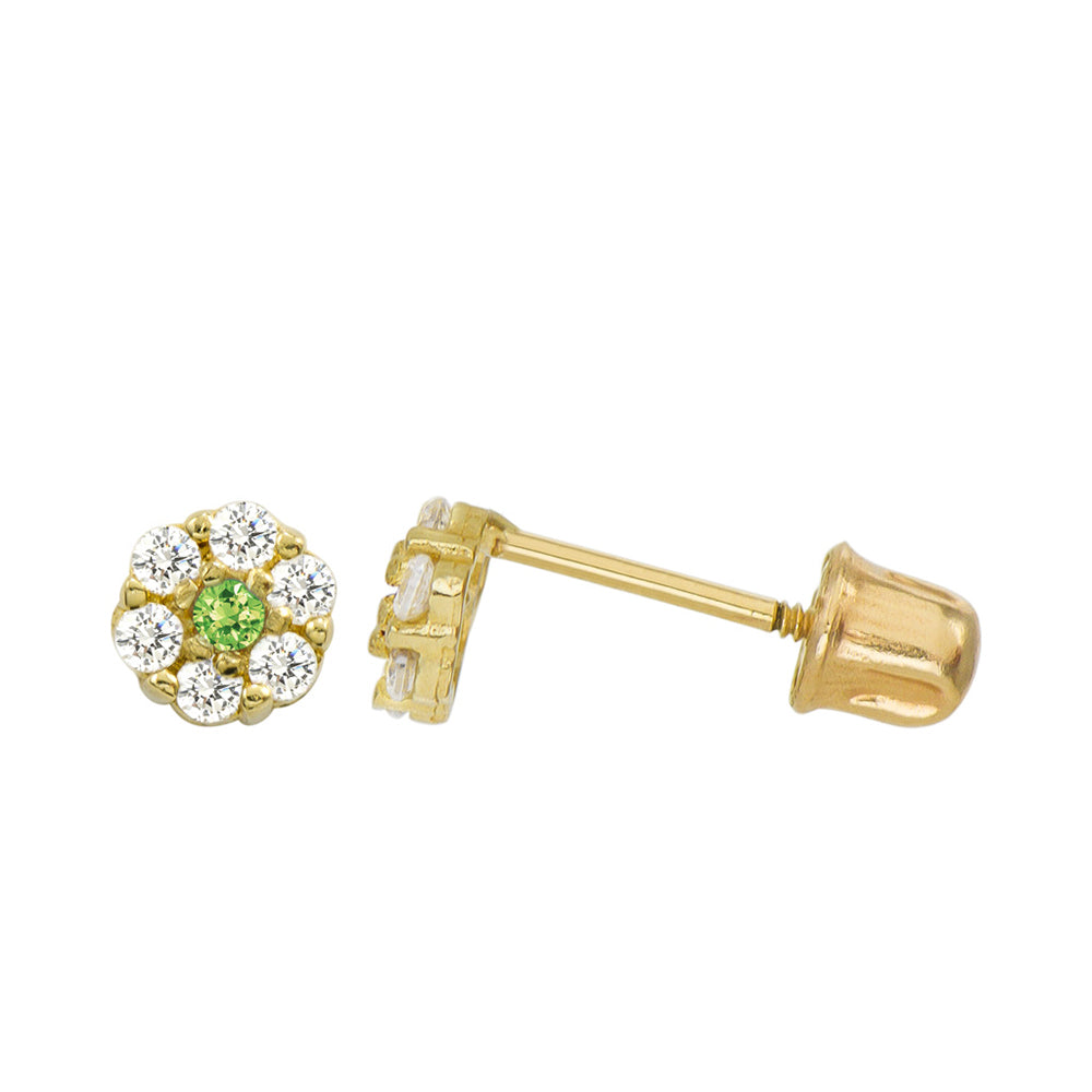 14K Yellow Gold 0.21 Cttw Round Cut Pale Green Cubic Zirconia Stud Earrings