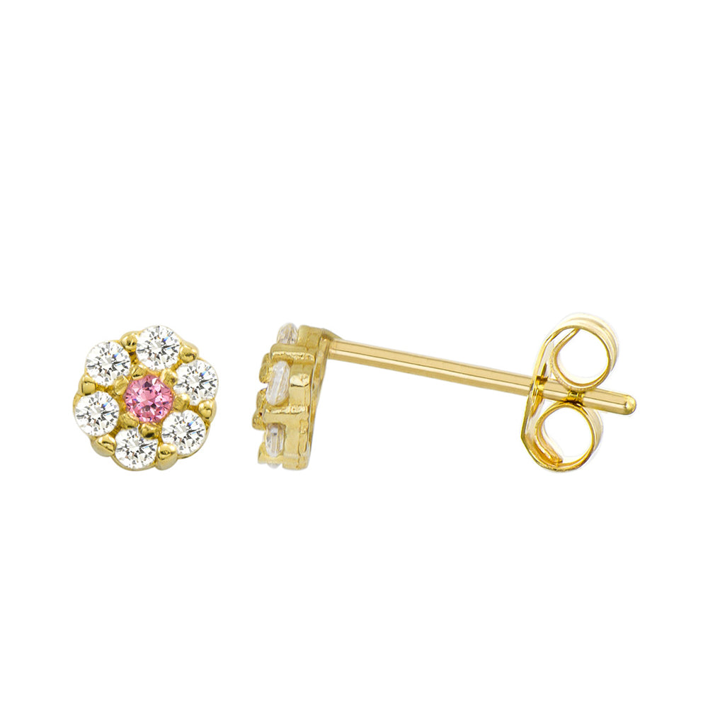 14K Yellow Gold 0.21 Cttw Round Cut Pink Cubic Zirconia Stud Earrings