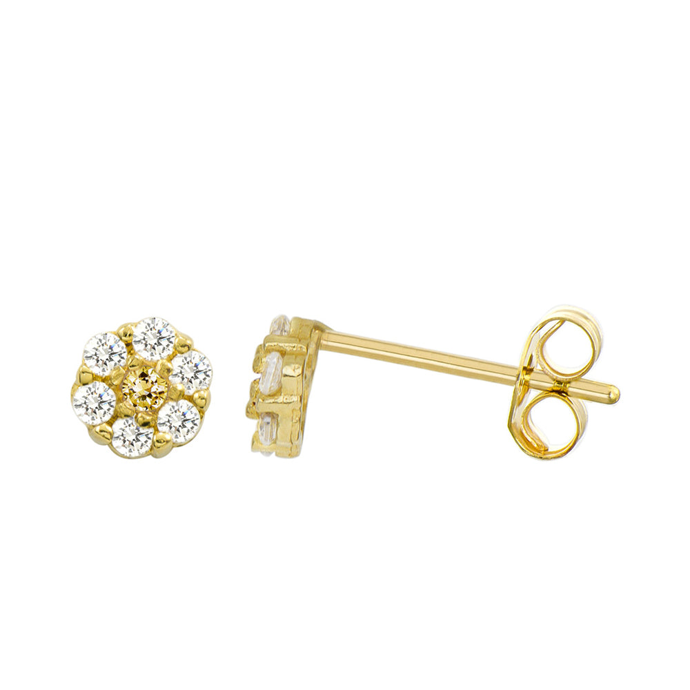 14K Yellow Gold 0.21 Cttw Round Cut Yellow Cubic Zirconia Stud Earrings