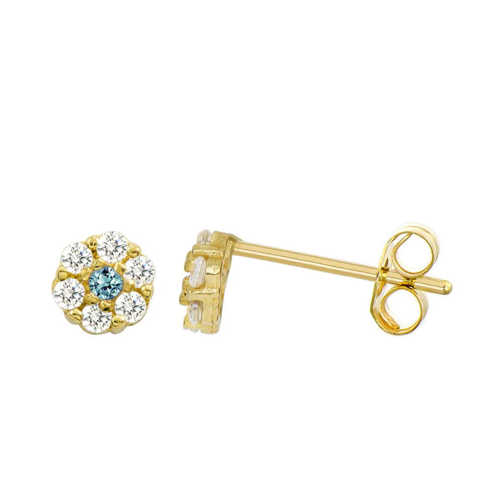 14K Yellow Gold 0.21 Cttw Round Cut Blue Cubic Zirconia Stud Earrings