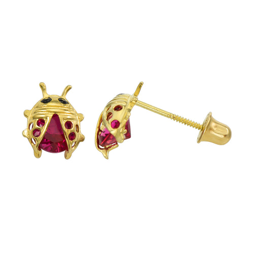 14K Yellow Gold 0.8 Cttw Round Cut Red Cubic Zirconia Lady Bug Stud Earrings