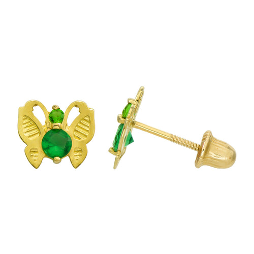 14K Yellow Gold 0.23 Cttw Round Cut Green Cubic Zirconia Butterfly Stud Earrings