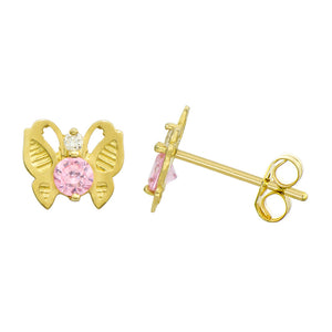 14K Yellow Gold 0.23 Cttw Round Cut Pink Cubic Zirconia Butterfly Stud Earrings