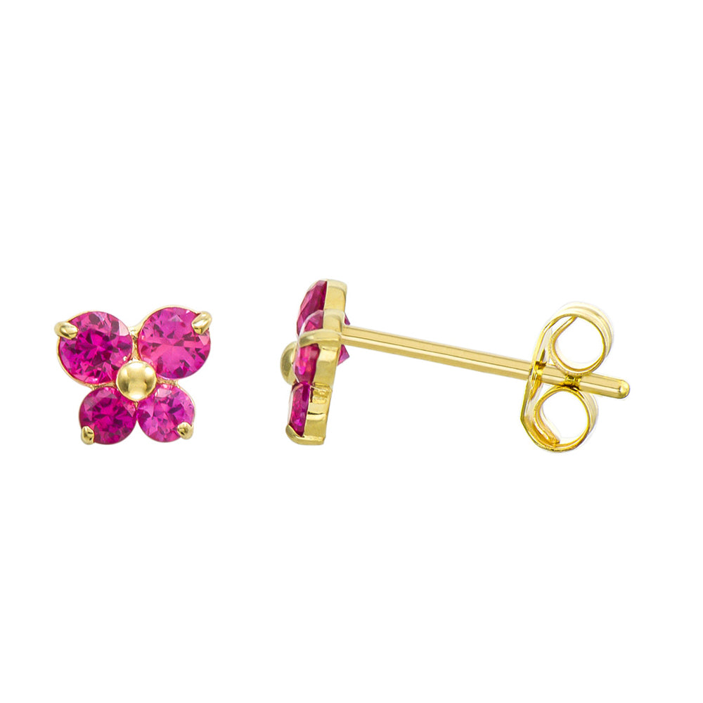 14K Yellow Gold 0.36 Cttw Round Cut Fuchsia Cubic Zirconia Butterfly Stud Earrings