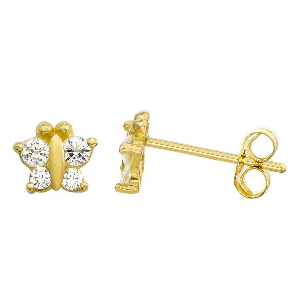 14K Yellow Gold 0.18 Cttw Round Cut Cubic Zirconia Butterfly Stud Earrings