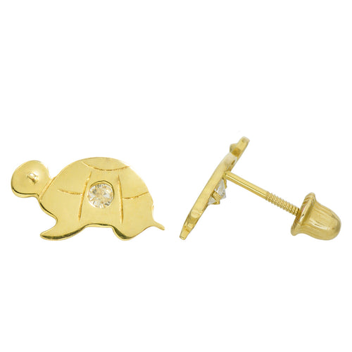 14K Yellow Gold 0.04 Cttw Round Cut Cubic Zirconia Flush Set Turtle Stud Earrings