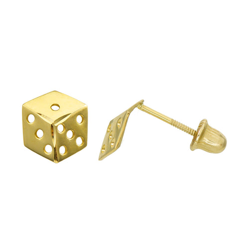 14K Yellow Gold Dice Stud Earrings