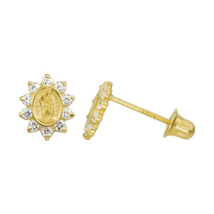 14K Yellow Gold 0.2 Cttw Round Cut Cubic Zirconia Guadalupe Stud Earrings