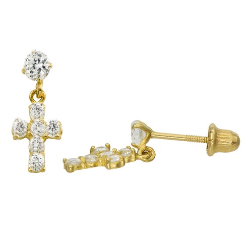 14K Yellow Gold 0.56 Cttw Round Cut Cubic Zirconia Cross Dangling Stud Earrings
