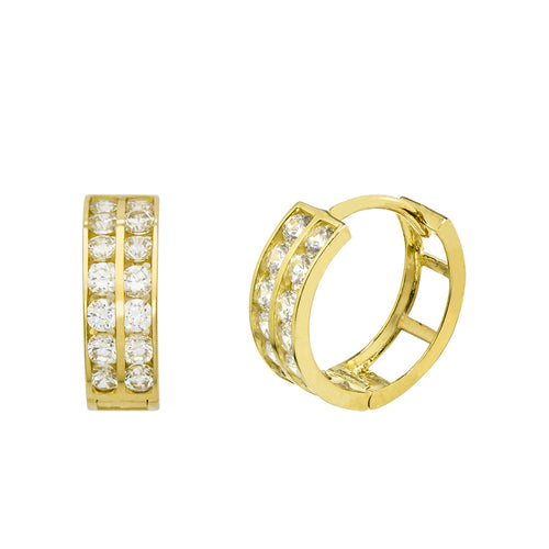 14K Yellow Gold 0.84 Cttw Round Cut Cubic Zirconia 2-Channel Set Huggie Hoop Earrings