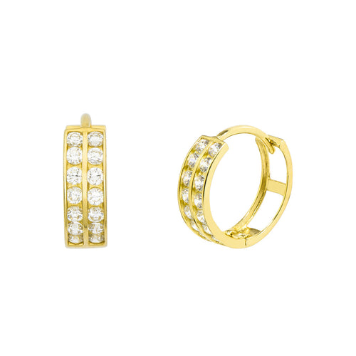 14K Yellow Gold 0.42 Cttw Round Cut Cubic Zirconia 2-Channel Set Huggie Hoop Earrings