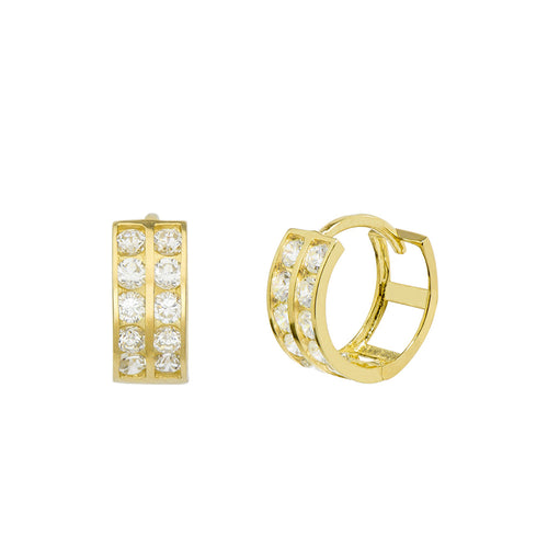 14K Yellow Gold 0.40 Cttw Round Cut Cubic Zirconia 2-Channel Set Huggie Hoop Earrings