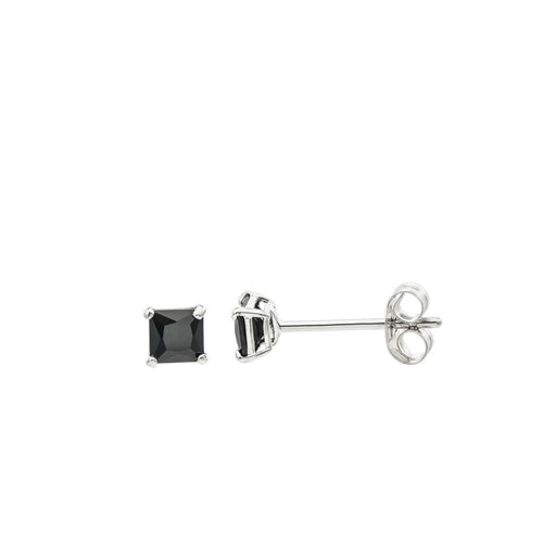 14K White Gold Princess cut Black CZ Double-basket set Push back Stud Earrings - 3mm