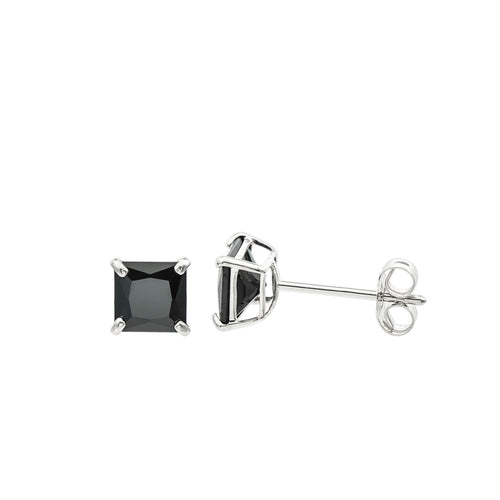 14K White Gold Princess cut Black CZ Double-basket set Push back Stud Earrings - 4mm
