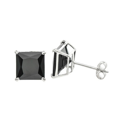 14K White Gold Princess cut Black CZ Double-basket set Push back Stud Earrings - 7mm