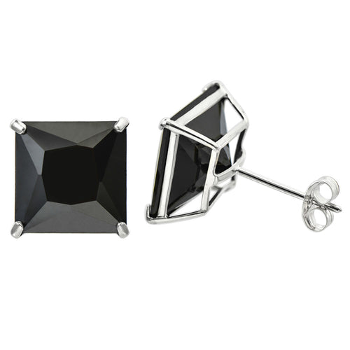 14K White Gold Princess cut Black CZ Double-basket set Push back Stud Earrings - 9mm