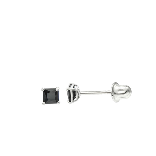 14K White Gold 3 mm Princess cut Black CZ Double-basket set Screw back Stud Earrings