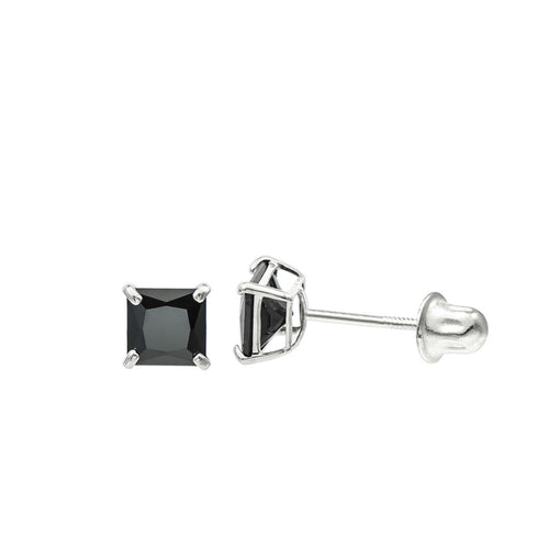 14K White Gold 4 mm Princess cut Black CZ Double-basket set Screw back Stud Earrings