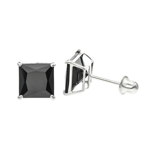 14K White Gold 7 mm Princess cut Black CZ Double-basket set Screw back Stud Earrings