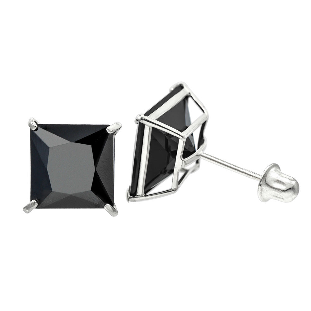 14K White Gold 5.0 Cttw 8 mm Princess Cut Black Spinel Double Basket Screw Back Earrings