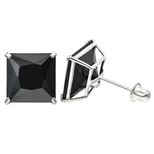 14K White Gold 8.0 Cttw 9 mm Princess Cut Black Spinel Double Basket Screw Back Earrings