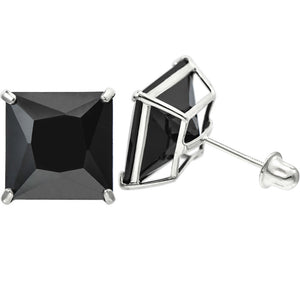 14K White Gold 11.2 Cttw 10 mm Princess Cut Black Spinel Double Basket Screw Back Earrings