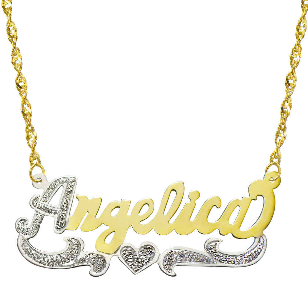 14K Two Tone Gold Personalized Name Plate Necklace - Style 7