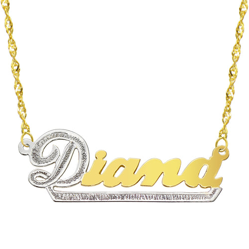 14K Two Tone Gold Personalized Name Plate Necklace - Style 10