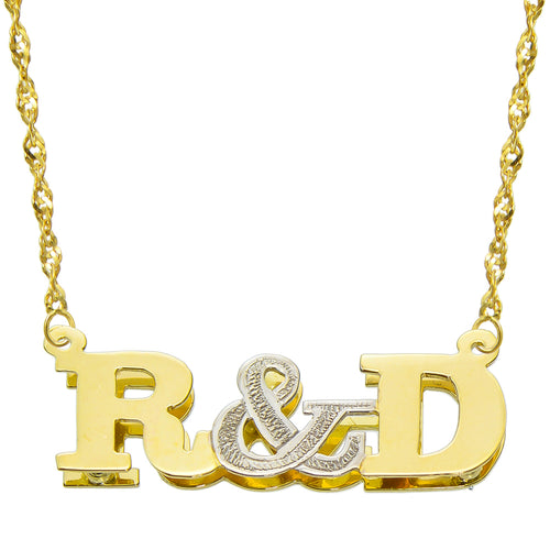 14K Two Tone Gold Personalized Double Plate 3D Initial Necklace - Style 1