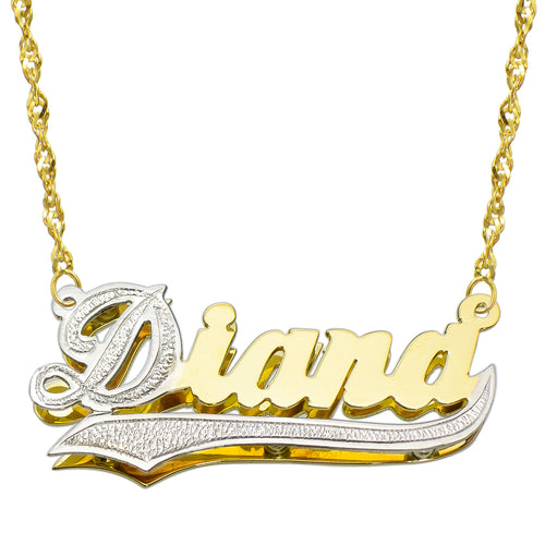 14K Two Tone Gold Personalized Double Plate 3D Name Necklace - Style 1