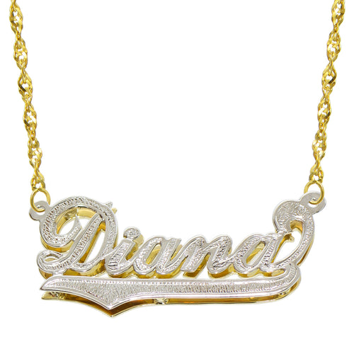 14K Two Tone Gold Personalized Double Plate 3D Name Necklace - Style 3