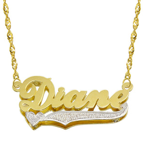 14K Two Tone Gold Personalized Double Plate 3D Name Necklace - Style 6
