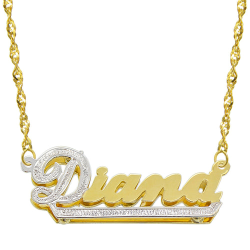14K Two Tone Gold Personalized Double Plate 3D Name Necklace - Style 7