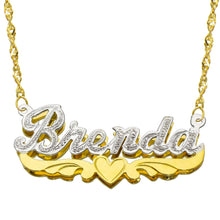 14K Two Tone Gold Personalized Double Plate 3D Name Necklace - Style 8